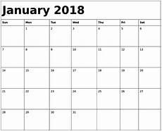 Blank Fillable Calendar January 2018 Calendar Fillable Free Printable Calendar