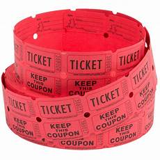 Raffell Tickets Carnival King Red 2 Part Raffle Tickets 2000 Roll