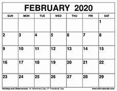 Free Calendar Template February 2020 Free Printable Calendar For 2019 Or 2020