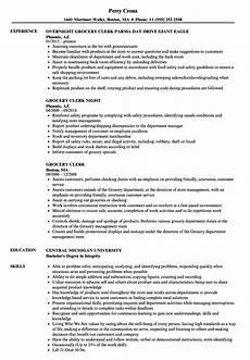 Resume For Grocery Store Clerk Grocery Clerk Resume Samples Velvet Jobs