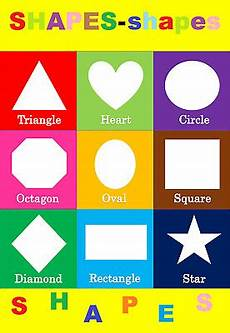 Shape Chart For Toddlers Basic Shapes Children Kids Educational Poster Chart A4