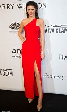 kendall jenner looks runway ready in thigh high split gown