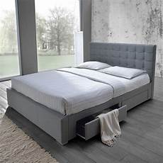 fabric size bed with side drawers