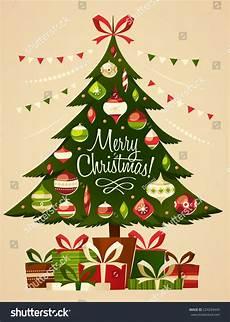 Card Image Christmas Tree With Gifts Christmas Card Stock Vector