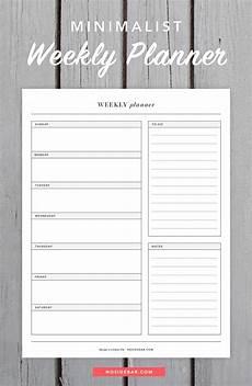 Simple Weekly Planner Minimalist Weekly Planner Printable Weekly Planner
