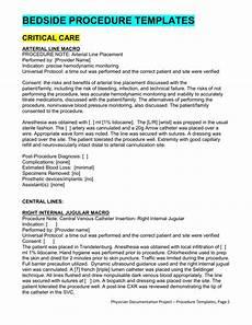 Procedure Note Template Bedside Procedures