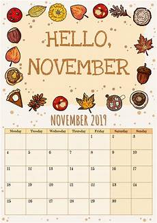 November Calendar Decorations Hello November Cute Cozy Hygge 2019 Month Calendar Planner