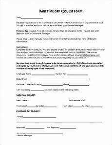 Paid Time Off Forms Employee Vacation Leave Request And Pto Forms Office