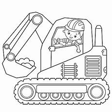 coloring page outline of crawler excavator