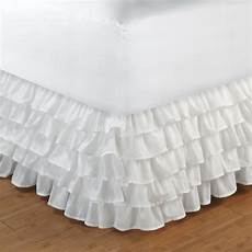 white layered multi ruffled king bedskirt princess bed