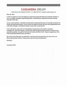 Receptionist Cover Letter With Experience Best Receptionist Cover Letter Examples Livecareer