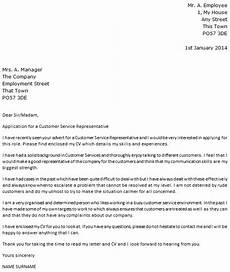 Cover Letters For Customer Service Customer Service Representative Cover Letter Example