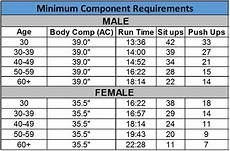 Army Fitness Standards Chart Air Force Fitness Standards Female Under 30 Blog Dandk