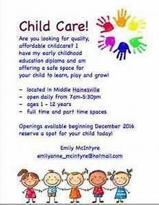 Home Daycare Ads Childcare In Middle Hainesville Home Childcare Daycare
