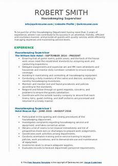 Housekeeping Resume Format Housekeeping Supervisor Resume Samples Qwikresume