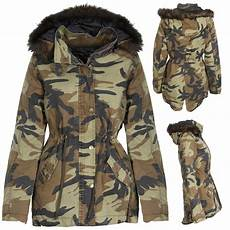 camo coats for new womens camo camouflage parka winter coat jacket fur