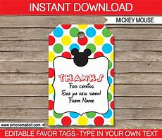 Party Favor Tag Mickey Mouse Party Favor Tags Thank You Tags Birthday
