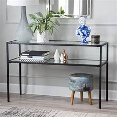 contemporary glam metal glass modern black console table