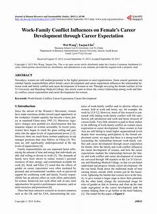 Career Development Articles Pdf Work Family Conflict Influences On Female S Career