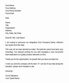 Two Weeks Notice Letter Examples Two Weeks Notice Letter 12 Download Free Documents In Word