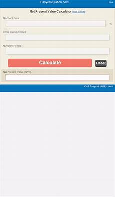 Net Present Value Calculator Net Present Value Calculator Android Apps On Google Play