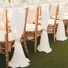 100 factory picture white chiffon wedding chair cover