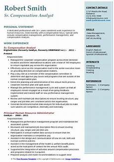 Compensation Analyst Resumes Compensation Analyst Resume Samples Qwikresume