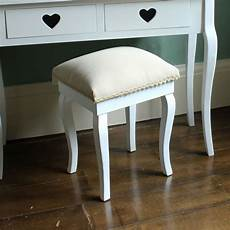 white padded dressing table stool shabby chic