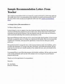 Peer Recommendation Letter Sample Sample Recommendation Letter From Teacher Docshare Tips