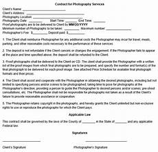 Contract For Photography Services Template Photography Contract Template