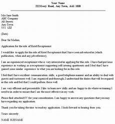 Receptionist Cover Letter With Experience Hotel Receptionist Cover Letter Example Icover Org Uk