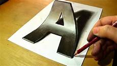 Drawing 3d Trick Art Drawing 3d Letter A Anamorphic Illusion Epic
