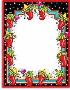 Fiesta Border Template Pix For Gt Mexican Fiesta Borders Recipe Cards