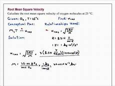 Root Mean Square Equation Root Mean Square Velocity Chemistry Youtube