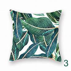 tropical plant palm leaves square cushion cover teal green