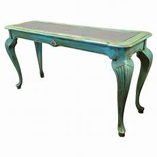 Teal Sofa Table Png Image stanley teal painted beveled glass sofa table on