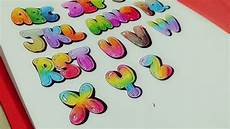 Colored Bubble Letters How To Draw Amp Color Uppercase Quot Bubble Letters Quot Youtube