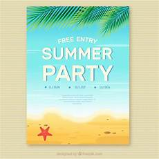 Summer Party Invite Summer Party Invitation On The Beach Vector Free Download