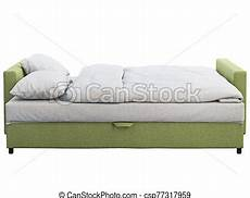 Sofa Bed 3d Image by Modern Unfolded Green Fabric Sofa Bed With White Bed Linen