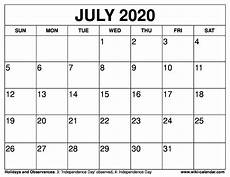 July 2020 Calendar Printable Free Printable July 2020 Calendar Wiki Calendar Com