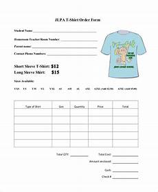 Tee Shirt Order Form Free 9 Sample T Shirt Order Forms In Pdf Doc