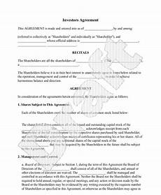 Sample Investor Agreement 5 Investment Contract Templates Word Excel Pdf Formats