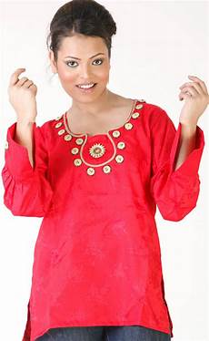 designer kurti with beadwork on neck and self design