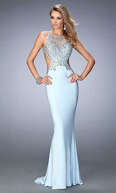 La Femme Light Blue Dress Gigi By La Femme Long Backless Prom Gowns