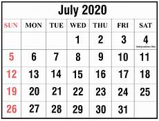 July 2020 Calendar Printable Download July 2020 Calendar Printable Templates Pdf