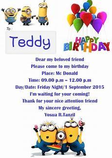 contoh desain undangan ulang tahun dalam bahasa inggris