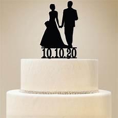 silhouette bride groom custom wedding cake topper diy