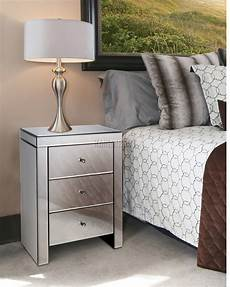 westwood mirrored furniture glass 3 drawer bedside cabinet