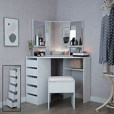 corner dressing table in white makeup desk with mirror