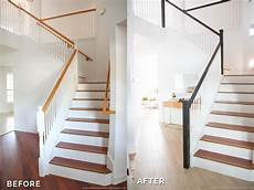 before after staircase spray paint chardonnay